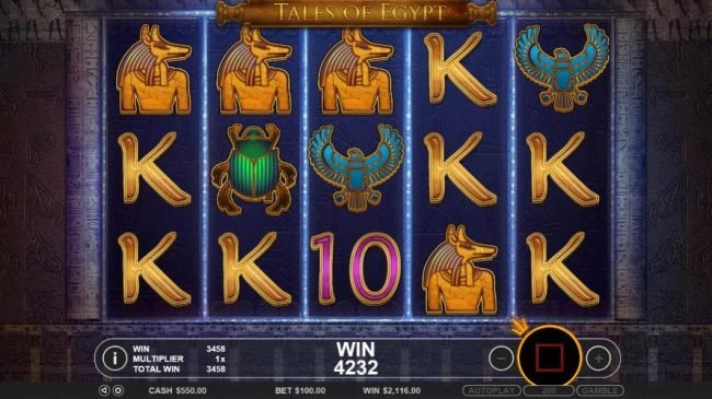 Malina featuring the Video Slots Tales of Egypt with a maximum payout of $5,000
