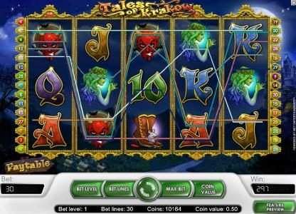 Touch Lucky featuring the Video Slots Tales of Krakow with a maximum payout of $15,000