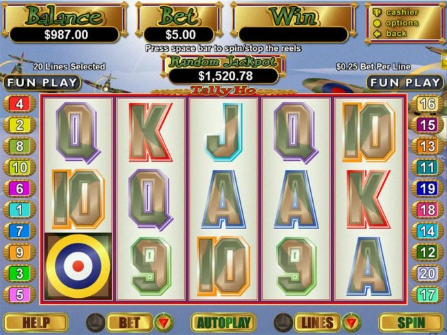 A WWII British Spitfire themed main game board featuring five reels and 20 paylines with a $250,000 max payout
