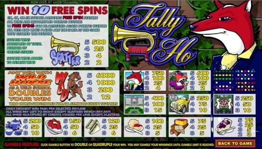 Grand Ivy featuring the Video Slots Tally Ho with a maximum payout of $60,000