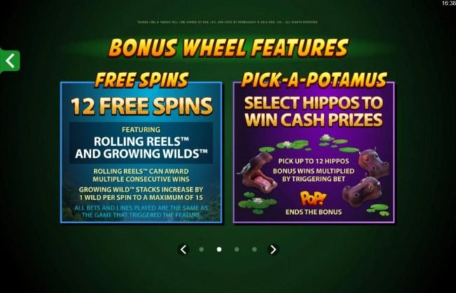 Bonus Wheel features - Free Spins and Pick-A-Potamus