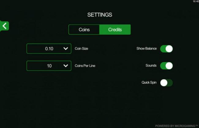 You can easily change the coin size and coins per line by clicking on the Settings menu.