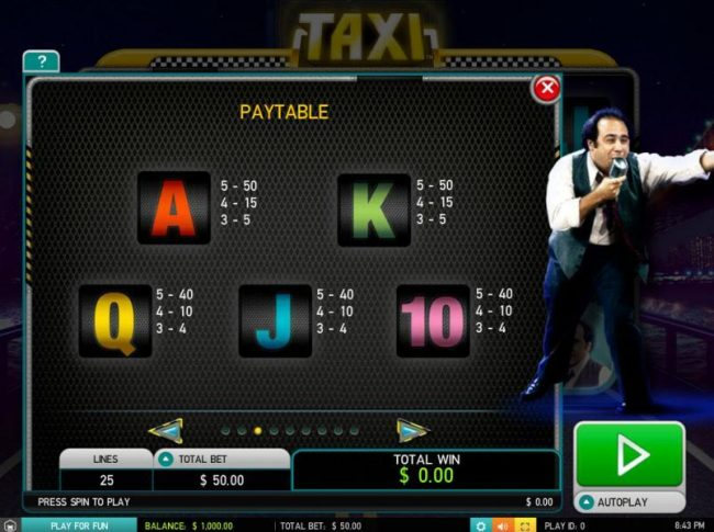 Play slots at Hello: Hello featuring the Video Slots Taxi with a maximum payout of $25,000