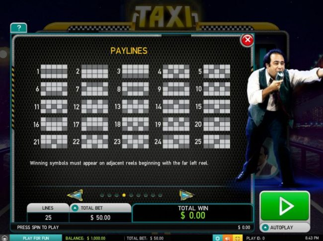 Jackpot Paradise featuring the Video Slots Taxi with a maximum payout of $25,000