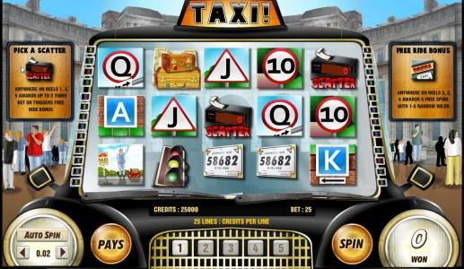 Karamba featuring the Video Slots Taxi with a maximum payout of 6250x
