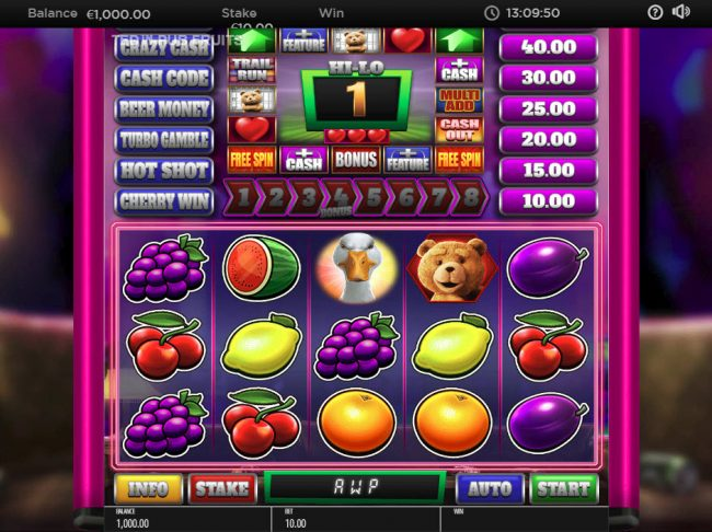 Play slots at Grand Master Jack: Grand Master Jack featuring the Video Slots Ted Pub Fruit with a maximum payout of $250,000
