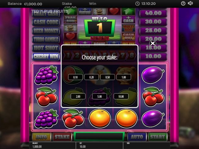 Moon Games featuring the Video Slots Ted Pub Fruit with a maximum payout of $250,000