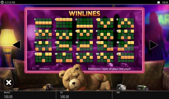 Play slots at Moon Games: Moon Games featuring the Video Slots Ted with a maximum payout of $250,000