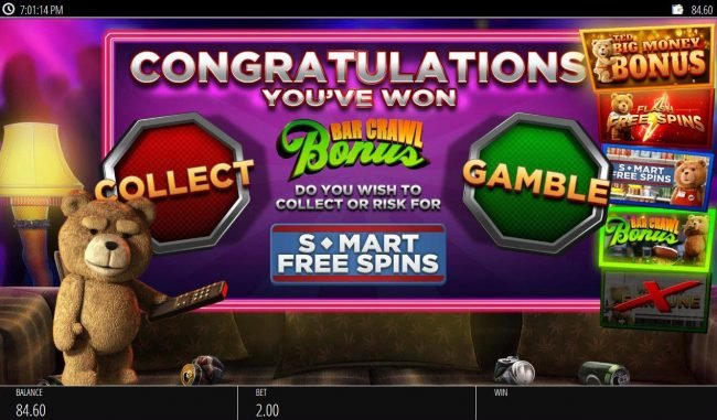 Play Club Casino featuring the Video Slots Ted with a maximum payout of $250,000