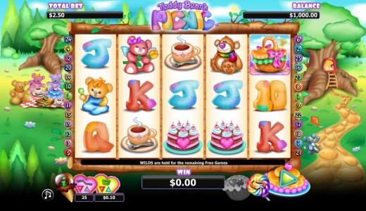 Cheeky Riches featuring the Video Slots Teddy Bears Picnic with a maximum payout of $1,000