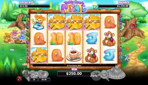 Royal Panda featuring the Video Slots Teddy Bears Picnic with a maximum payout of $1,000