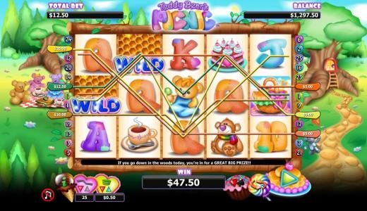 My Win 24 featuring the Video Slots Teddy Bears Picnic with a maximum payout of $1,000
