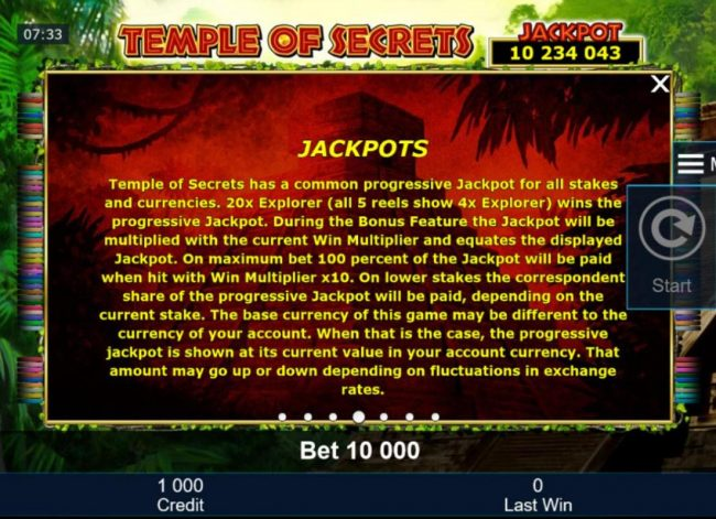 Company featuring the Video Slots Temple of Secrets with a maximum payout of Jackpot
