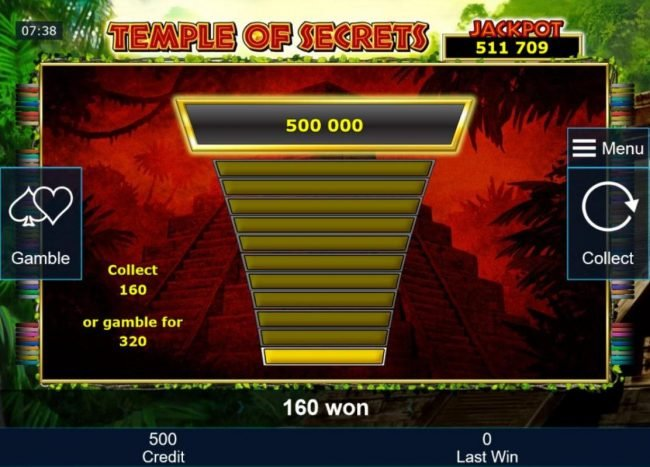 Ladder Gamble Feature Game Board available after every winning spin.