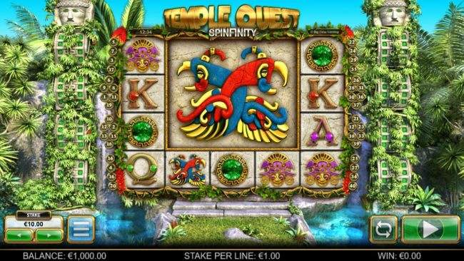 Mr Green featuring the Video Slots Temple Quest Spinfinity with a maximum payout of $15,000