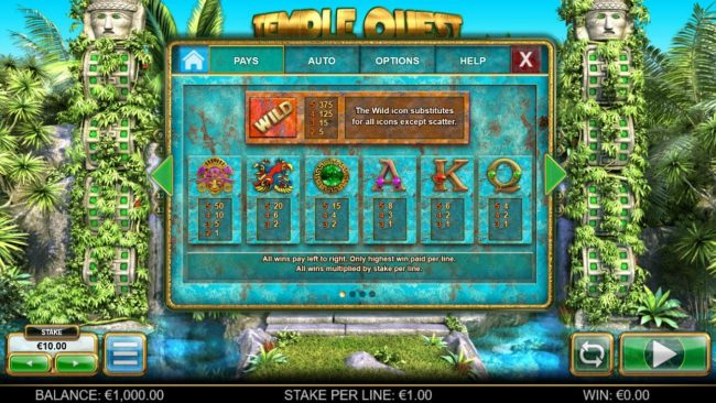 Slotty Vegas featuring the Video Slots Temple Quest Spinfinity with a maximum payout of $15,000