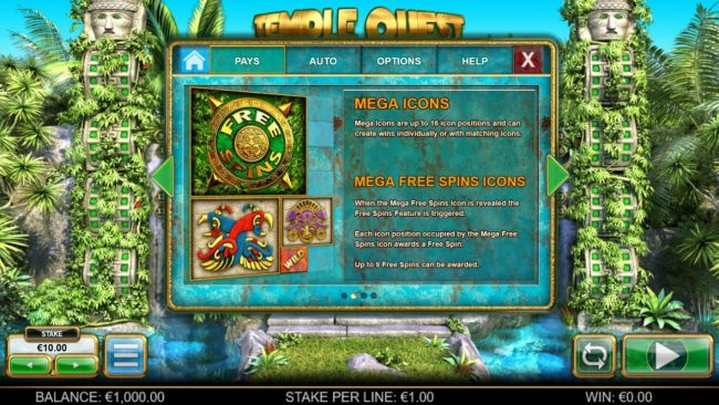 Jackpot Paradise featuring the Video Slots Temple Quest Spinfinity with a maximum payout of $15,000