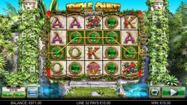 Euro Slots featuring the Video Slots Temple Quest Spinfinity with a maximum payout of $15,000