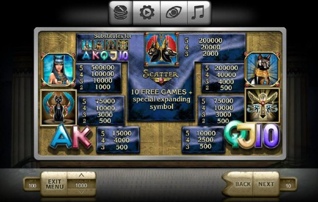 Vegas Crest featuring the Video Slots Temple Cats with a maximum payout of $500,000