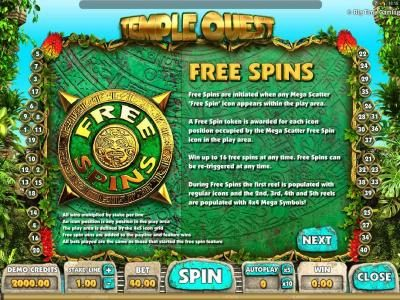 Zet Casino featuring the Video Slots Temple Quest with a maximum payout of $64,000