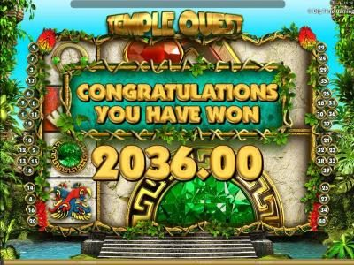 Rose Slots featuring the Video Slots Temple Quest with a maximum payout of $64,000
