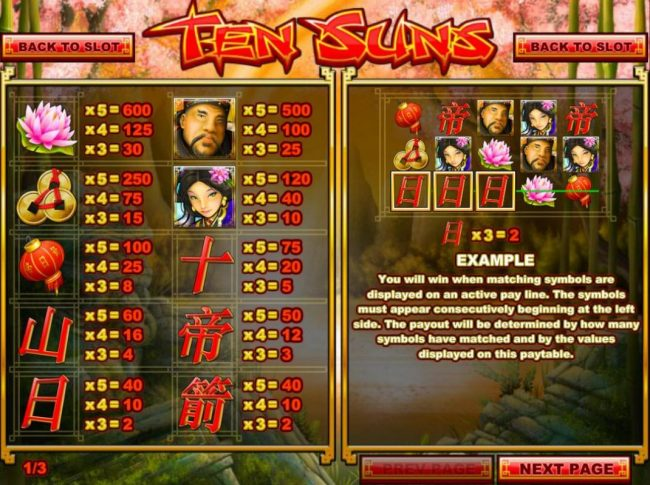 Tropica featuring the Video Slots Ten Suns with a maximum payout of $2,500