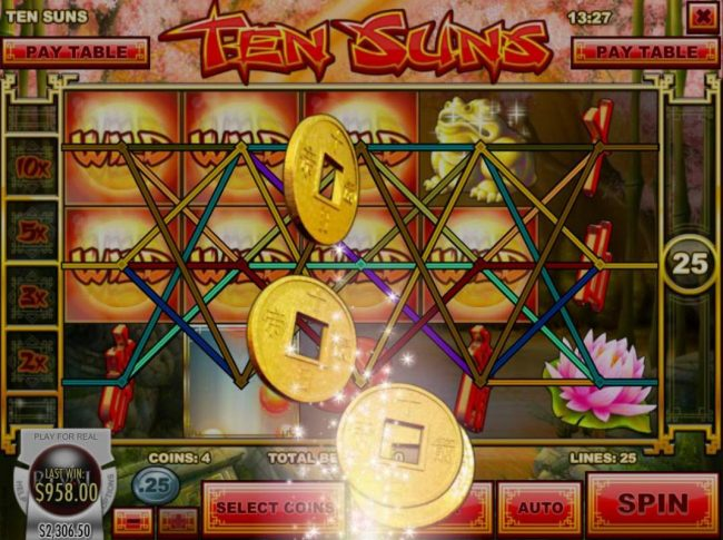 DaVincis Gold featuring the Video Slots Ten Suns with a maximum payout of $2,500