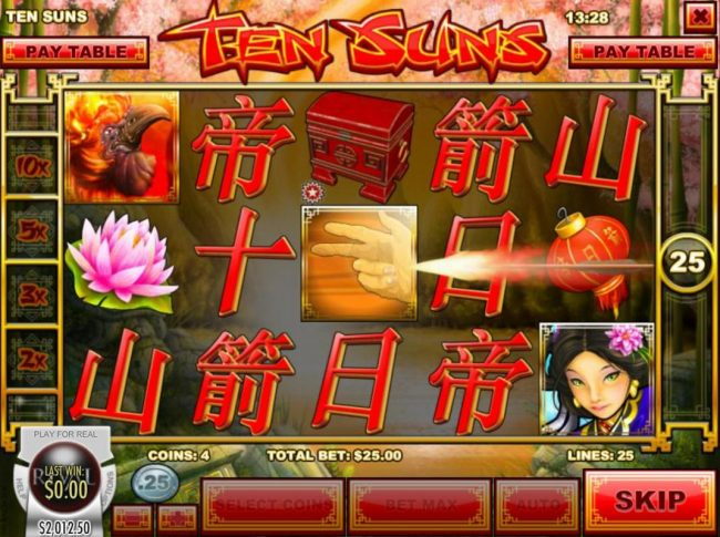 Laromere featuring the Video Slots Ten Suns with a maximum payout of $2,500
