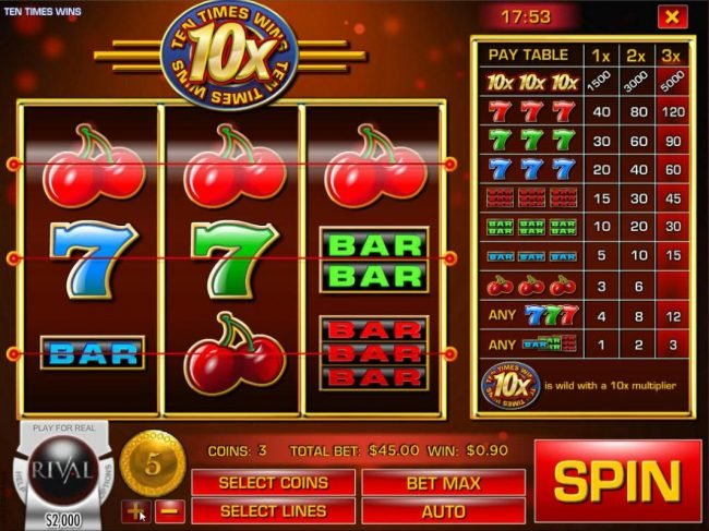 Play slots at Dendera: Dendera featuring the Video Slots Ten Times Wins with a maximum payout of $75,000