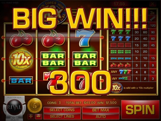 Paradise 8 featuring the Video Slots Ten Times Wins with a maximum payout of $75,000
