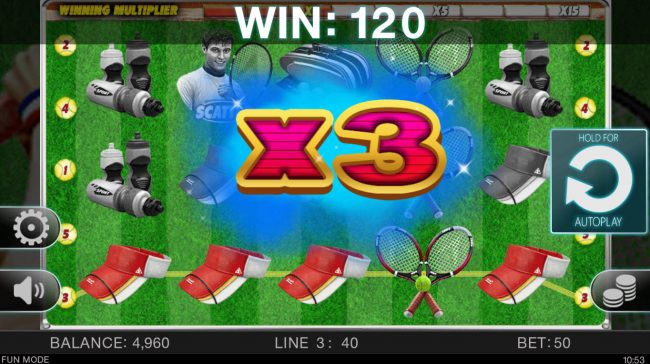 Tennis Champion :: An x3 win multiplier awarded