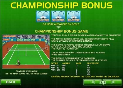 Titanbet.it featuring the Video Slots Tennis Stars with a maximum payout of $500,000