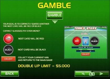 Betfair featuring the Video Slots Tennis Stars with a maximum payout of $500,000