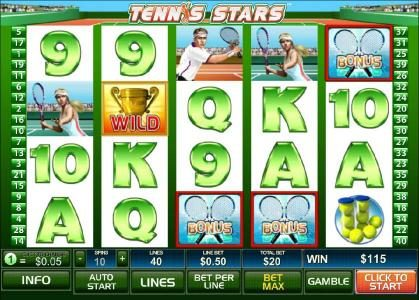 Club 777 featuring the Video Slots Tennis Stars with a maximum payout of $500,000