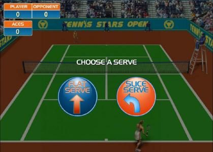 Championship Bonus feature game board - Choose a serve - Flat or Slice
