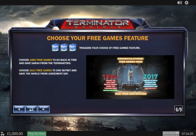 Sky Kings featuring the Video Slots Terminator Genisys with a maximum payout of $6,000,000