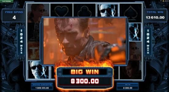 Terminator 2 - Judgement Day :: An $8,300 big win triggered during the free spins feature