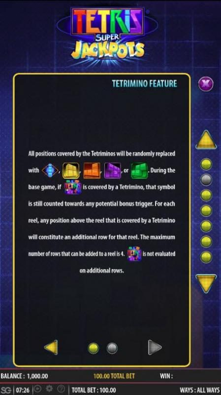 Tetris Super Jackpots :: Tetrimino Feature Rules - Continued