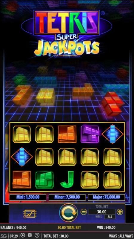 Tetris Super Jackpots :: Multiple winning combinations triggers a big win