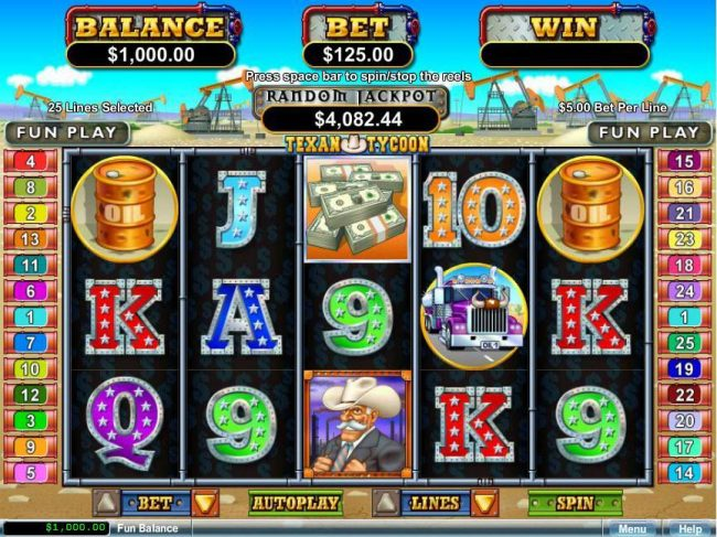 Kudos featuring the Video Slots Texan Tycoon with a maximum payout of $250,000