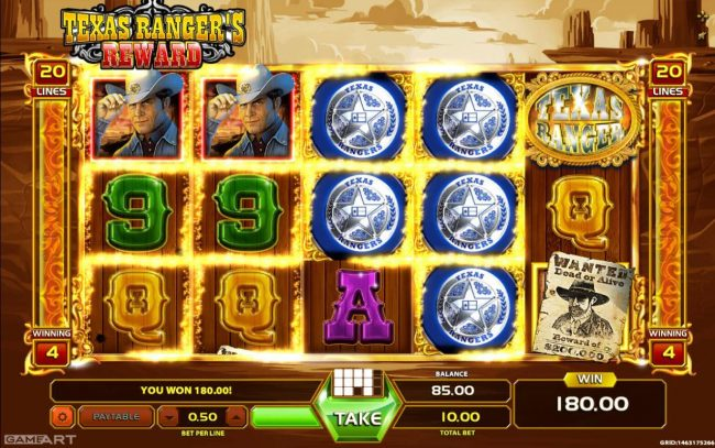 LaFiesta featuring the Video Slots Texas Ranger's Reward with a maximum payout of $1,000