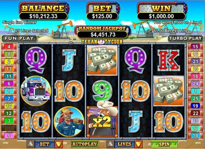 Royal Ace featuring the Video Slots Texan Tycoon with a maximum payout of $250,000