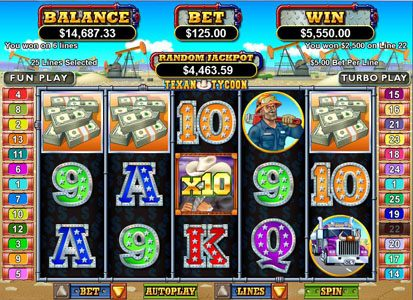 Casino Extreme featuring the Video Slots Texan Tycoon with a maximum payout of $250,000