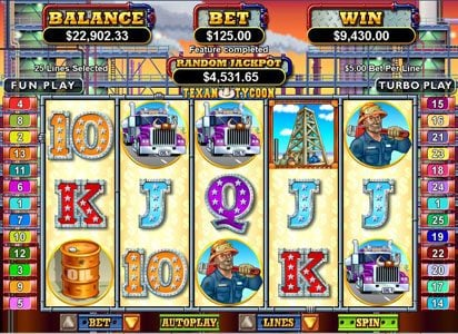 All Star Slots featuring the Video Slots Texan Tycoon with a maximum payout of $250,000