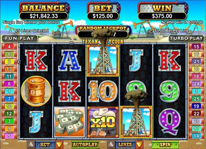 Play slots at Free Spin: Free Spin featuring the Video Slots Texan Tycoon with a maximum payout of $250,000