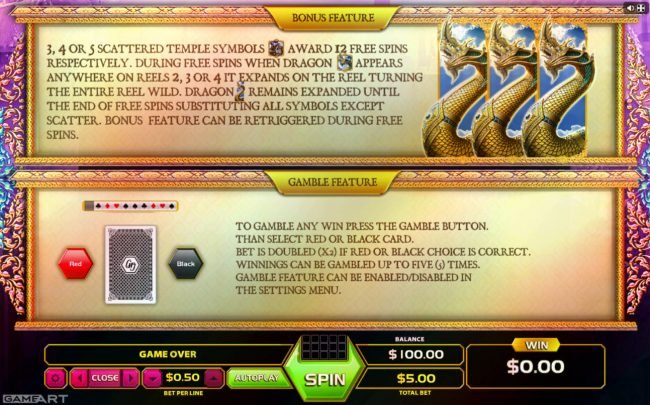 Africa Casino featuring the Video Slots Thai Dragon with a maximum payout of $1,250