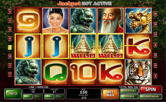 LesA Casino featuring the Video Slots Thai Temple with a maximum payout of $150,000