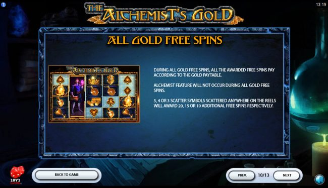 Crystal featuring the Video Slots The Alchemist's Gold with a maximum payout of $80,000