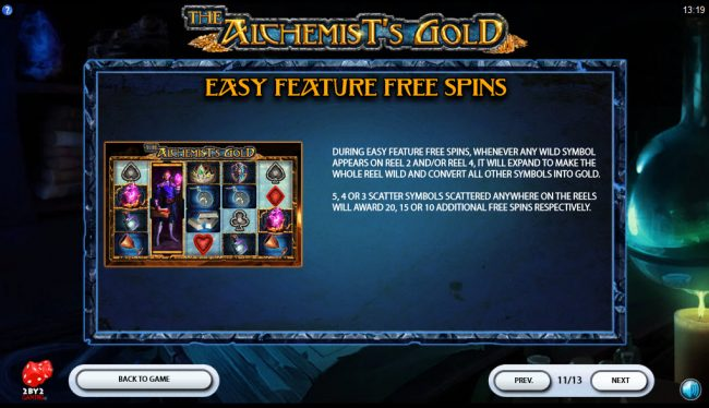 Spinrider featuring the Video Slots The Alchemist's Gold with a maximum payout of $80,000