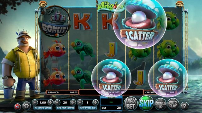 Real Bet featuring the Video Slots The Angler with a maximum payout of $130,000